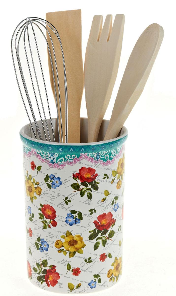 Подставка для столовых приборов ENS Group Цветочная поэма, 5 предметов0660127Подставка для столовых приборов Цветочная поэма порадует вас своей элегантностью и практичностью. Этотнезаменимый кухонный аксессуар обеспечит столовым приборам сушку и хранение, а так же станет прекраснымукрашением вашего рабочего кухонного пространства.Подставка выполнена из керамики и оформленакрасочным рисунком.В комплекте: подставка, лопатка, ложка поварская, вилка, венчик.