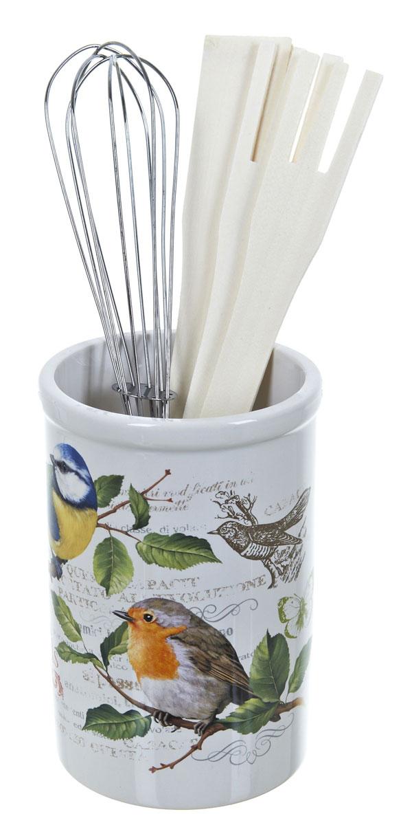 Подставка для столовых приборов Polystar Birds, 5 предметовL2430755Подставка для столовых приборов Polystar поразит любого своей элегантностью и практичностью. Подставка выполнена из керамики, лопатка, ложка и вилка - из дерева. Этот незаменимый кухонный аксессуар обеспечит столовым приборам сушку и хранение, а так же станет прекрасным украшением вашего рабочего кухонного пространства. В состав набора входит: подставка, лопатка, ложка поварская, вилка, венчик.