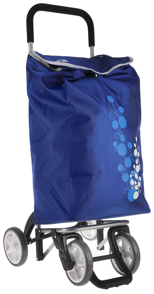 """Хозяйственная сумка-тележка Gimi """"Twin"""" выполнена из высококачественного полиэстера со стальным каркасом. Она оснащена одним вместительным отделением, закрывающимся на шнурок. Имеется карман на застежке-молнии и маленькая ручка для пристегивания к тележке супермаркета. Сумка водоустойчива, оснащена двумя парами колес, которые обеспечивают удобство транспортировки. Для компактного хранения сумку можно сложить. Максимальная нагрузка: 30 кг."""