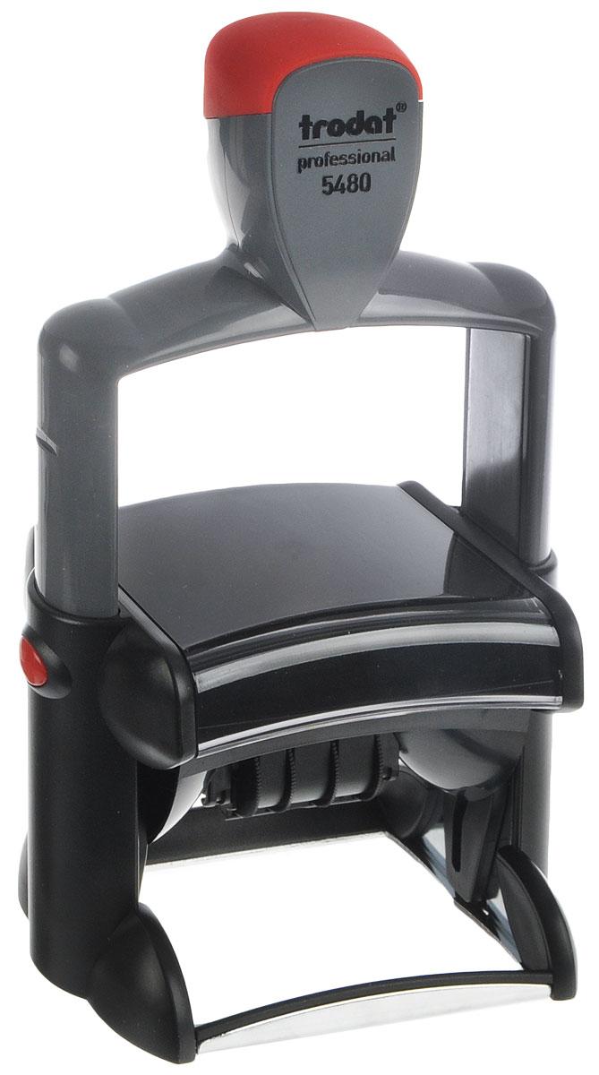 Trodat Датер со свободным полем 68 х 47 мм5480Датер Trodat имеет прочный пластиковый корпус с металлическим основанием.Дата находится в центре, месяц прописывается словом, вокруг даты свободное поле под изготовление клише. Подходит для работы в бухгалтерии, на складе, в банке. Размер свободного поля - 68 мм х 47 мм.В комплект входит сменная подушка, цвет синий.