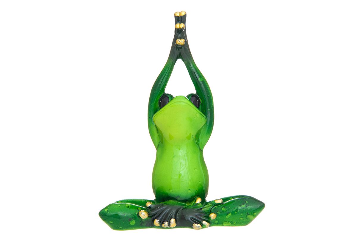 Фигурка декоративная Elan Gallery Лягушонок-йога, высота 12,5 см870203Декоративные фигурки - это отличный способ разнообразить внутреннее убранство вашего дома. Декоративная фигурка с изображением лягушки станет прекрасным сувениром, который вызовет улыбку и поднимет настроение.Фигурка выполнена из полистоуна.Размер статуэтки: 10 х 5 х 12,5 см.