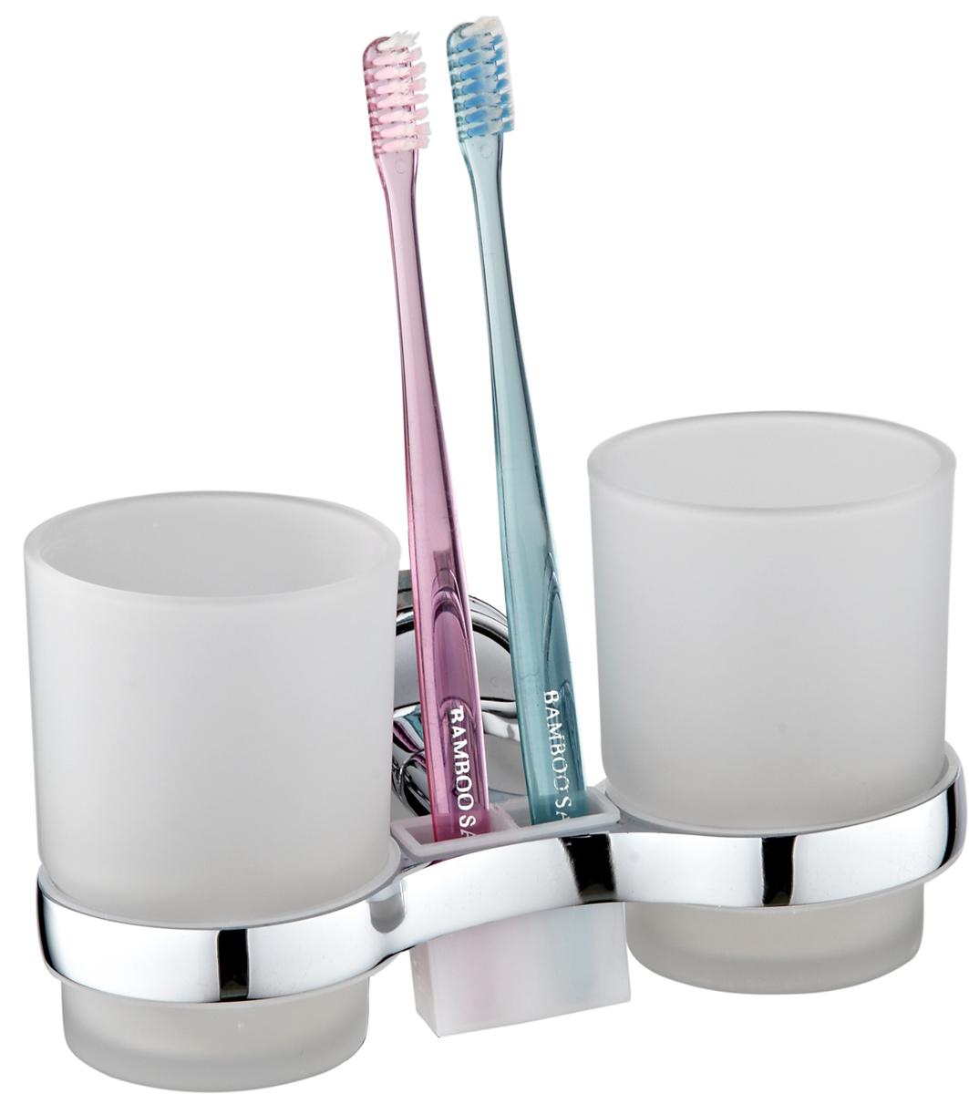 """Двойной хромированный стакан """"РМС"""", изготовленный из стекла, отлично подойдет для вашей  ванной комнаты. Крепится к стене.    Стакан """"РМС"""" создаст особую атмосферу уюта и максимального комфорта в ванной."""