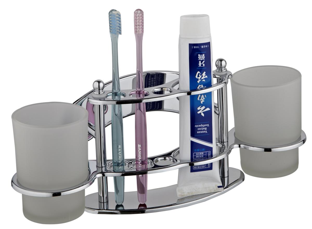 Настенный держатель для щеток РМС с 2-мя стаканами, цвет: хром. A6023A6023Настенный держатель для щеток с 2-мя стаканами крепление к стене, хромированный цвет