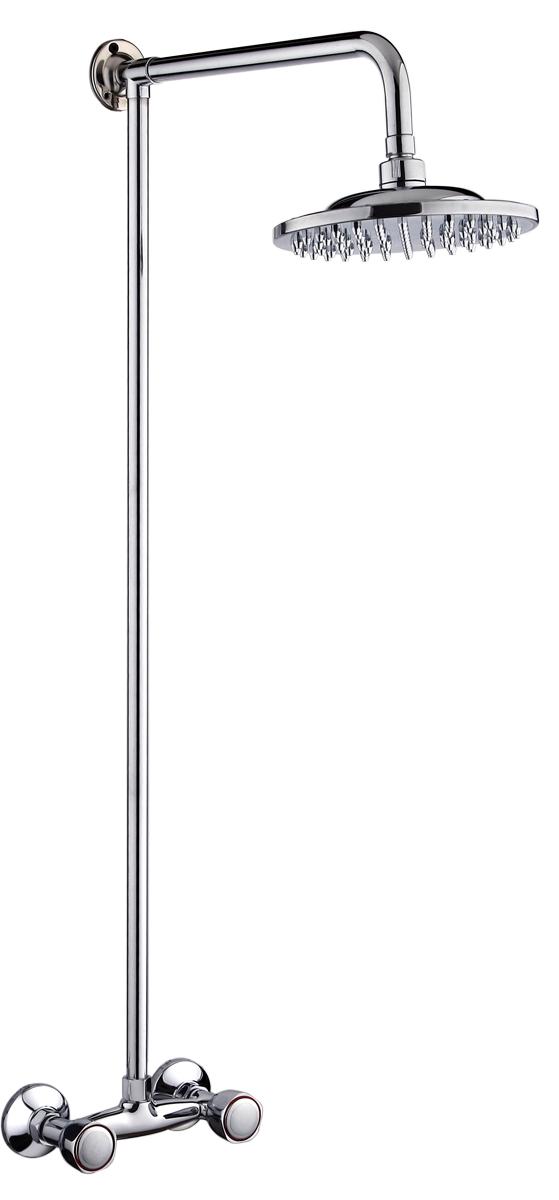 Смеситель для душа РМС, с верхней лейкой. SL80-003-2SL80-003-2Смеситель для душа РМС выполнен из латуни с хромированным покрытием. Латунные кранбуксы с керамическими пластинами поворачиваются на 180°. В комплекте: верхняя лейка, металлическая стойка, эксцентрики, отражатели.