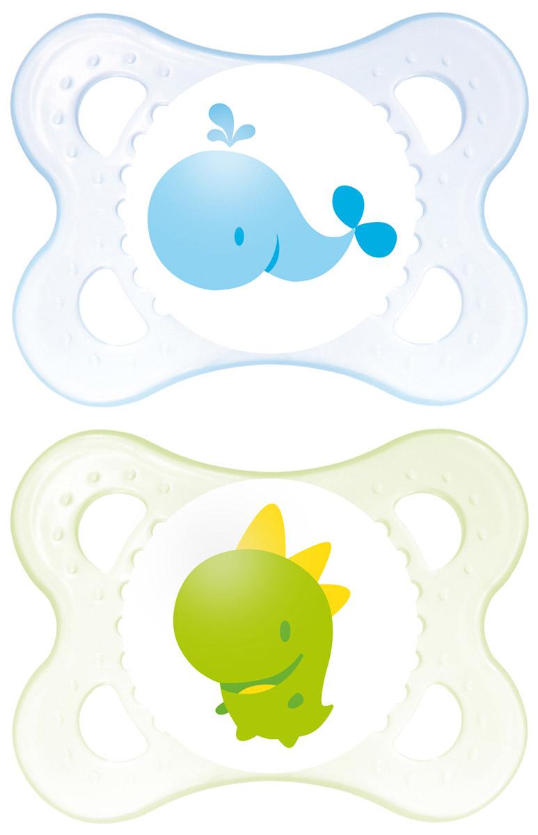 MAM Пустышка силиконовая ортодонтическая Original от 0 до 6 месяцев цвет голубой зеленый 2 шт mam пустышка силиконовая original от 6 до 16 месяцев цвет фиолетовый прозрачный 2 шт