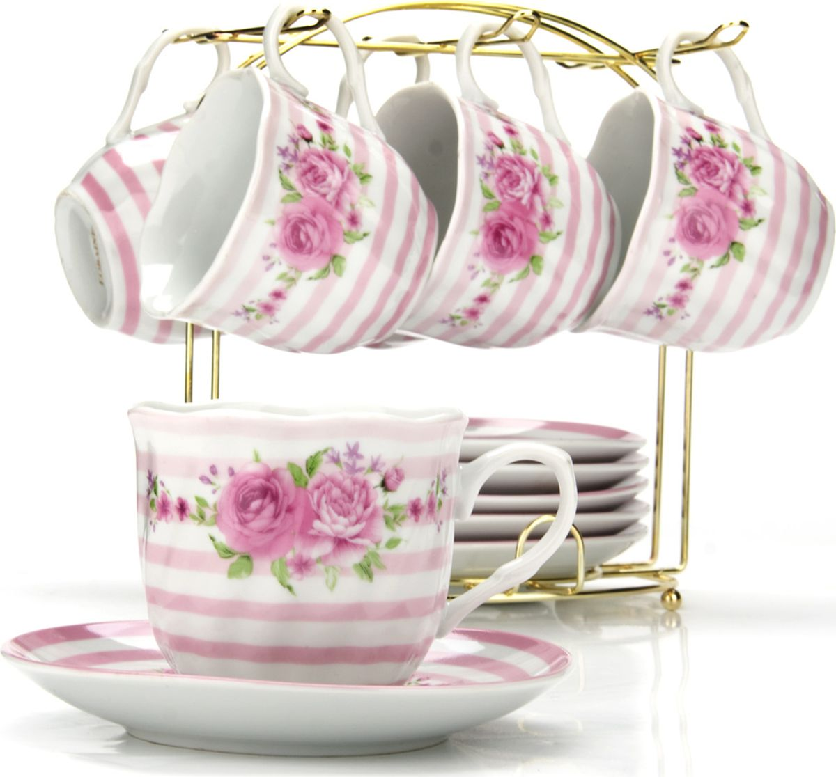 Сервиз чайный Loraine, на подставке, 13 предметов. 4328125937Чайный набор состоит из шести чашек, шести блюдец и металлической подставки золотого цвета. Предметы набора изготовлены из качественного фарфора и оформлены красочным цветным рисунком, стенки чашек имеют изящную волнистую поверхность. Чайный набор идеально подойдет для сервировки стола и станет отличным подарком к любому празднику. Все изделия можно компактно хранить на подставке, входящей в набор. Подходит для мытья в посудомоечной машине.Диаметр чашки: 8 см.Высота чашки: 7 см.Объем чашки: 200 мл.Диаметр блюдца: 13,5 см.