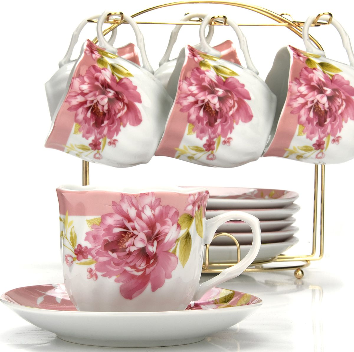 Сервиз чайный Loraine, на подставке, 13 предметов. 4328525941Чайный набор состоит из шести чашек, шести блюдец и металлической подставки. Предметы набора изготовлены из качественного фарфора и оформлены красочным рисунком, стенки чашек имеют изящную волнистую поверхность. Чайный набор идеально подойдет для сервировки стола и станет отличным подарком к любому празднику. Все изделия можно компактно хранить на подставке, входящей в набор. Подходит для мытья в посудомоечной машине.Диаметр чашки: 8 см.Высота чашки: 7 см.Объем чашки: 200 мл.Диаметр блюдца: 13,5 см.