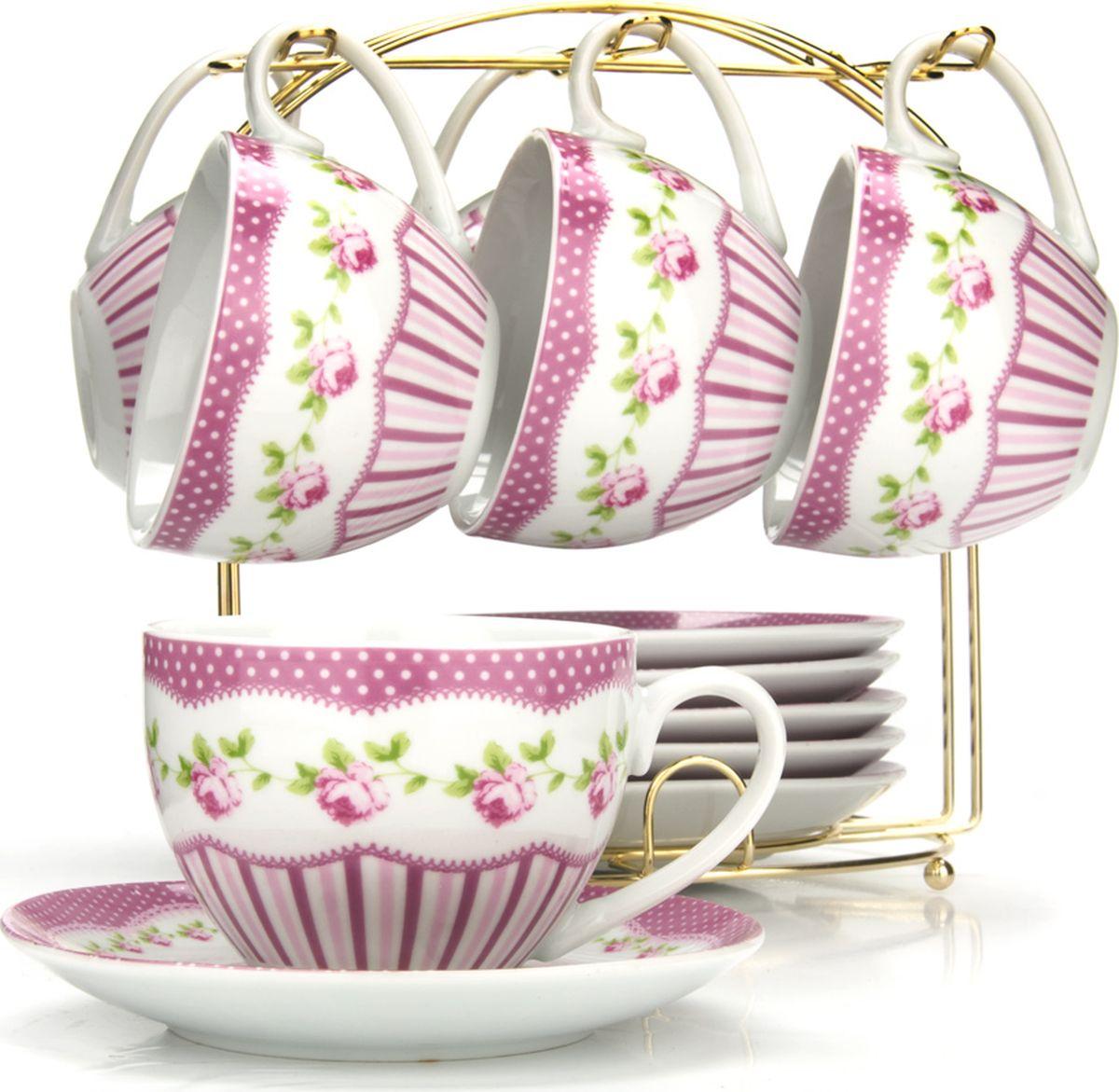 Сервиз чайный Loraine, на подставке, 13 предметов. 4329825950Чайный набор состоит из шести чашек, шести блюдец и металлической подставки золотого цвета. Предметы набора изготовлены из качественного фарфора и оформлены красочным цветным рисунком. Чайный набор идеально подойдет для сервировки стола и станет отличным подарком к любому празднику. Все изделия можно компактно хранить на подставке, входящей в набор. Подходит для мытья в посудомоечной машине.Диаметр чашки: 9 см.Высота чашки: 7 см.Объем чашки: 220 мл.Диаметр блюдца: 14 см.