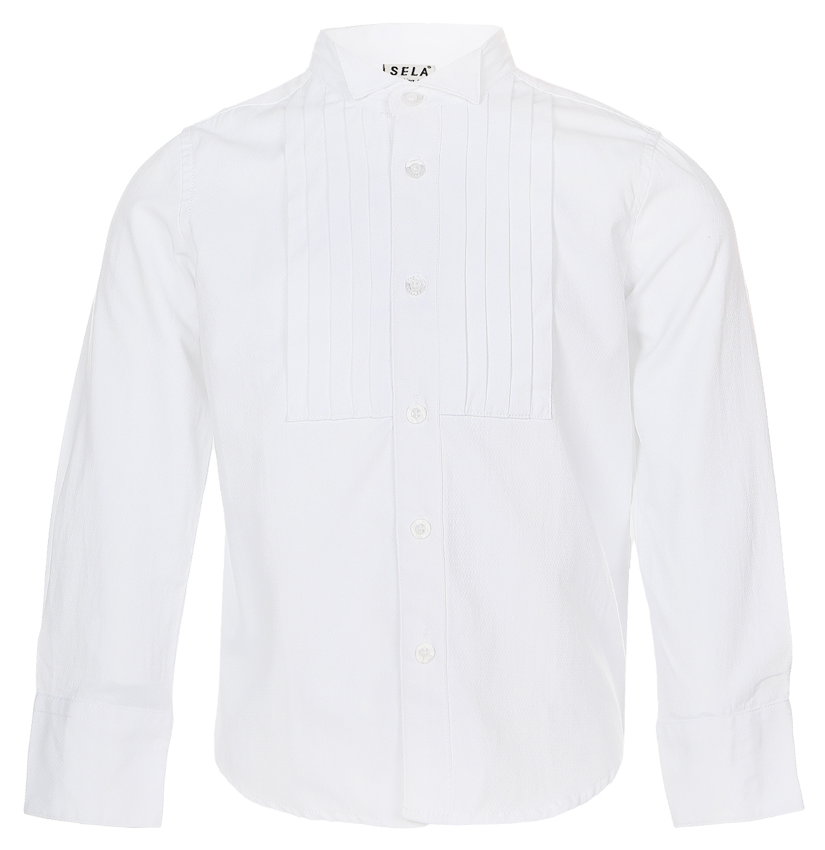 Рубашка для мальчика Sela, цвет: белый. H-712/447-6416. Размер 98, 3 годаH-712/447-6416Стильная рубашка для мальчика Sela изготовлена из качественного сочетания хлопка и полиэстера.Рубашка с длинными рукавами и воротником-стойкой застегивается на пластиковые пуговицы по всей длине. Манжеты рукавов также застегиваются на пуговицы. Классическая однотонная рубашка оформлена спереди горизонтальными складочками.