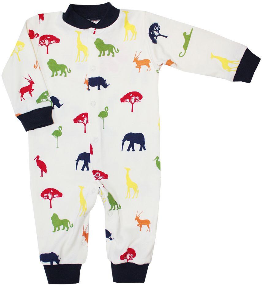 Комбинезон детский КотМарКот Африка, цвет: бежевый, темно-синий. 6277. Размер 566277Детский комбинезон КотМарКот Африка выполнен из натурального хлопка. Комбинезон с круглым вырезом горловины, длинными рукавами и закрытыми ножками имеет застежки-кнопки спереди и на ластовице, которые помогают легко переодеть младенца или сменить подгузник. Вырез горловины дополнен эластичной вставкой, рукава оснащены эластичными трикотажными манжетами. Изделие оформлено принтом с изображением африканских животных.