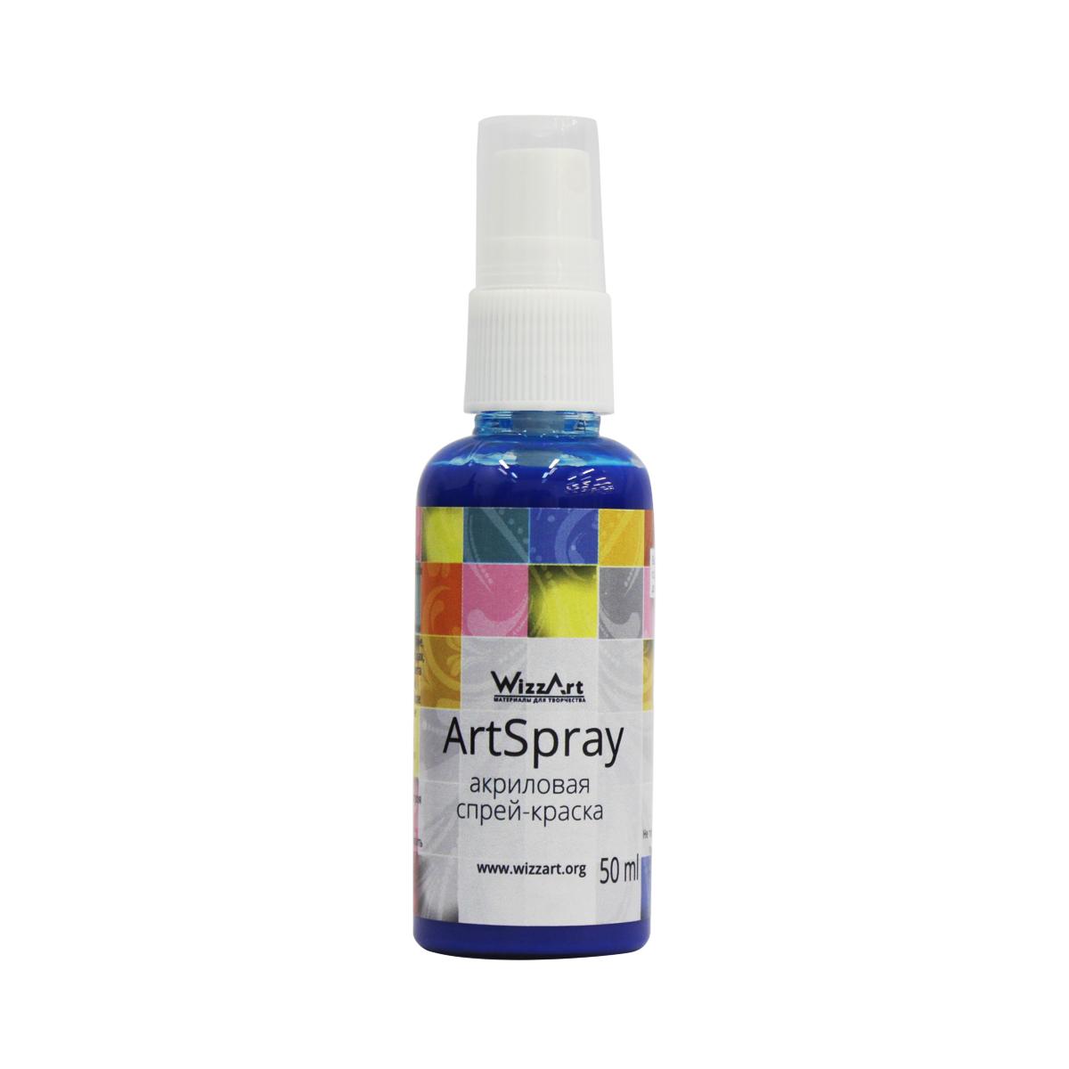 Краска-спрей акриловая Wizzart ArtSpray, цвет: индиго, 50 мл499970Серия ArtSpray от фирмы WizzArt - это акриловые краски в удобной форме спрея. Богатство палитры оттенков и возможность смешивать их между собой открывает безграничные возможности для творчества. Краска-спрей наиболее удобна для окрашивания широких поверхностей и для использования трафаретов. Ее легко распылять из флакона, покрытие получается матовым, ровным и плотным. Краска применима на большинстве поверхностей, используемых в различных видах творчества - это может быть пластик, картон, бумага, дерево, керамика, кожа, стекло. Эти акриловые краски абсолютно безопасны и экологичны, не выделяют в воздух никаких вредных веществ. Акриловые краски являются наиболее распространенными в различных видах ручного труда - декорировании, декупаже, росписи различных основ. Краска-спрей WizzArt удобна в работе, высыхает в течение часа, приобретая водостойкость. Используемые при производстве пигменты устойчивы к выцветанию на свету, краска долго остается такой же яркой и насыщенной, как при окрашивании.Объем: 50 мл.Товар сертифицирован.
