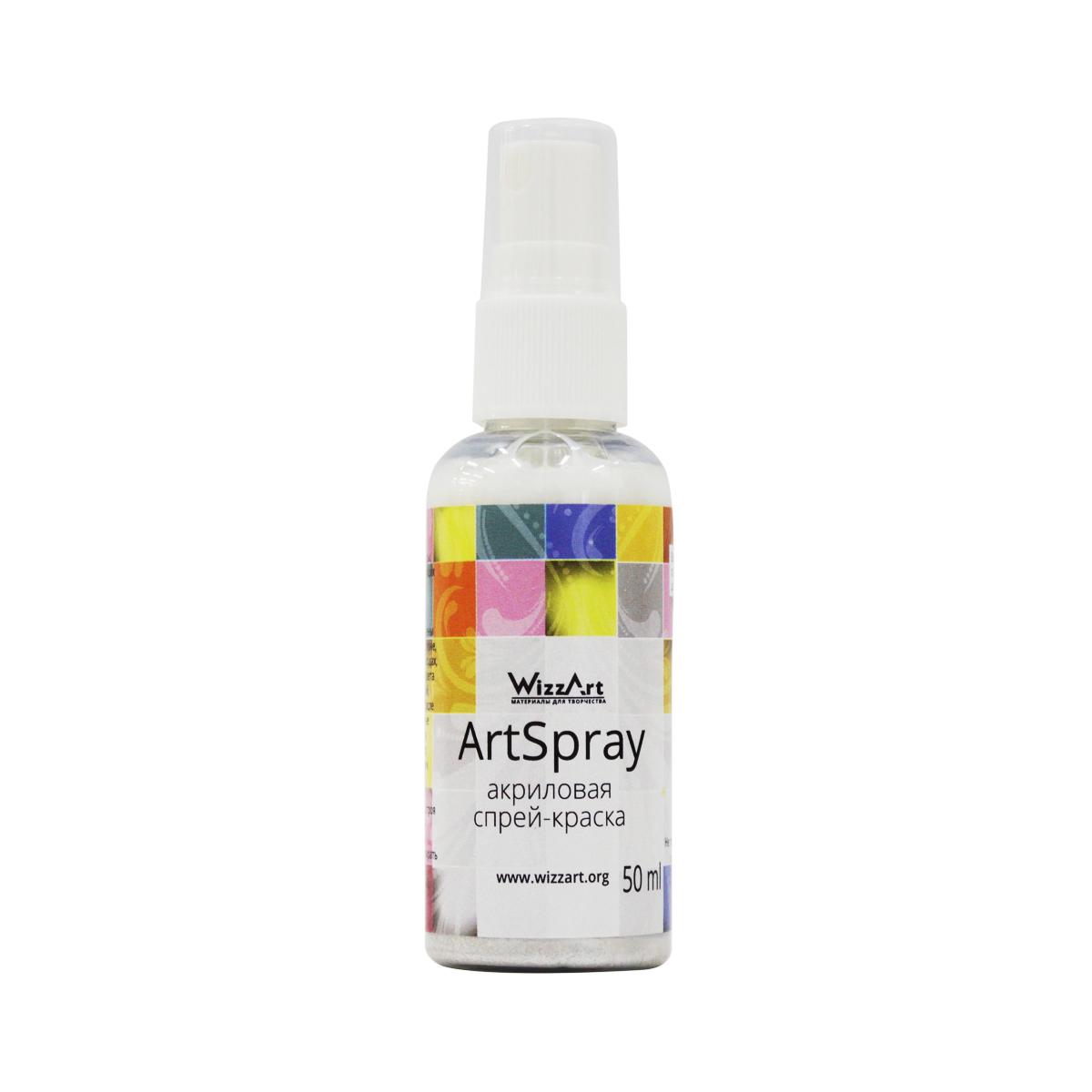 Краска-спрей акриловая Wizzart ArtSpray, цвет: снежный перламутровый, 50 мл499974Краска-спрей акриловая Wizzart ArtSpray - это акриловые краски в удобной форме спрея. Краска-спрей наиболее удобна для окрашивания широких поверхностей и для использования трафаретов. Ее легко распылять из флакона, покрытие получается матовым, ровным и плотным. Краска применима на большинстве поверхностей, используемых в различных видах творчества - это может быть пластик, картон, бумага, дерево, керамика, кожа, стекло и пр. Краска абсолютно безопасна и экологична, не выделяет в воздух никаких вредных веществ. Акриловая краска является наиболее распространенной в различных видах ручного труда - декорировании, декупаже, росписи различных основ. Краска-спрей Wizzart ArtSpray удобна в работе, высыхает в течение часа, приобретая водостойкость. Используемые при производстве пигменты устойчивы к выцветанию на свету, краска долго остается такой же яркой и насыщенной, как при окрашивании.