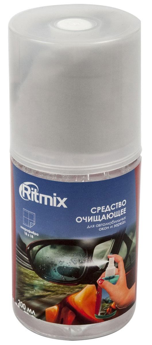 Ritmix RC-200BWC очищающее средство для автомобильных стекол и зеркалRC-200BWCНабор Ritmix RC-200BW в составе спрея-очистителя и фибры предназначен для ухода за стеклами и зеркалами в автомобилях от пыли, грязи, отпечатков пальцев и жировых разводов. Отлично подходит и для других оптических поверхностей.Способ применения:Снять крышку и распылить на обрабатываемую поверхность.Салфеткой убрать видимые загрязнения с поверхности.При необходимости повторить обработку.Плотно закрыть крышку.Рекомендации по использованию:Для достижения максимального эффекта рекомендуется аккуратно убрать салфеткой видимые загрязнения с очищаемойповерхности, а затем протереть поверхность чистой стороной салфетки.Меры предосторожности:Применять только по назначению. Не употреблять внутрь.Хранить в недоступном для детей месте.При попадании в глаза промыть холоднойводой. В случае если раздражение не исчезнет, обратиться к врачу.