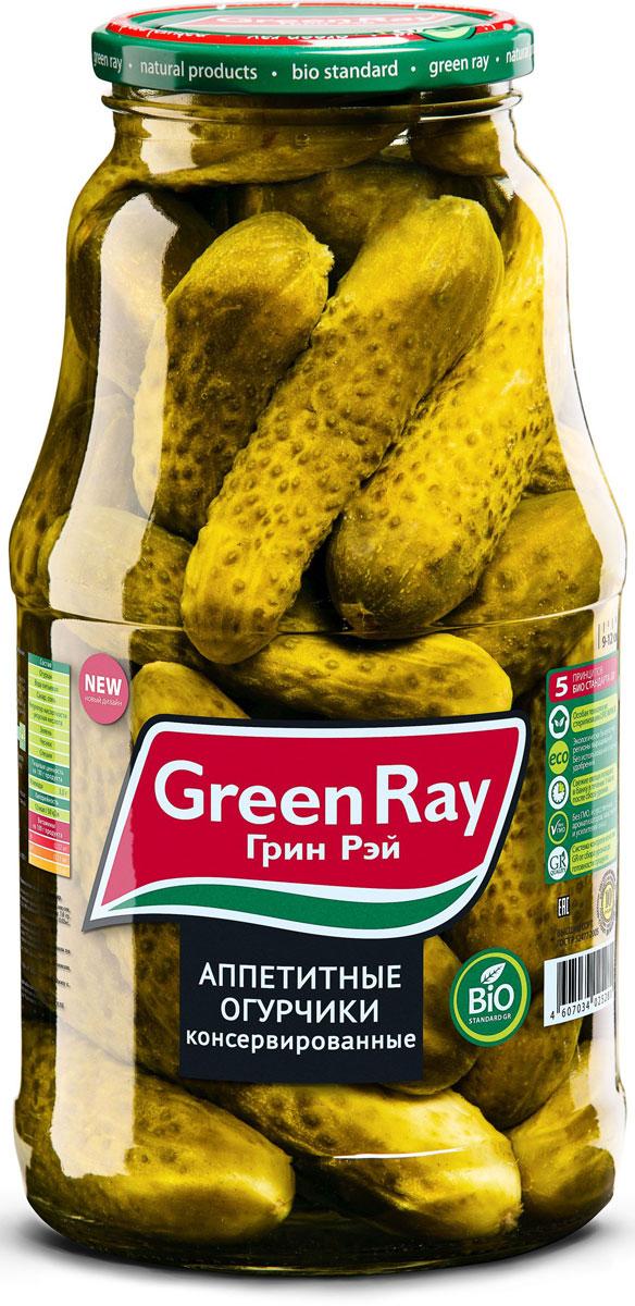 Green Ray огурцы консервированные с зеленью в заливке, 1,8 л