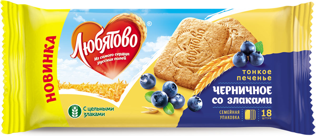 Любятово печенье сахарное Черничное со злаками, 171 г romeo rossi паста яичная 4 яйца ригатони трехцветная 500 г
