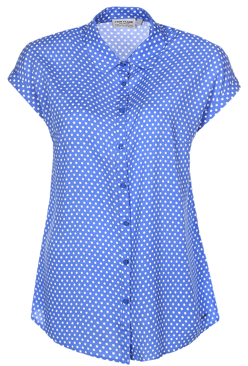 куртка женская finn flare цвет светло серый b17 12018 210 размер l 48 Блузка женская Finn Flare, цвет: голубой. B17-11081_139. Размер L (48)