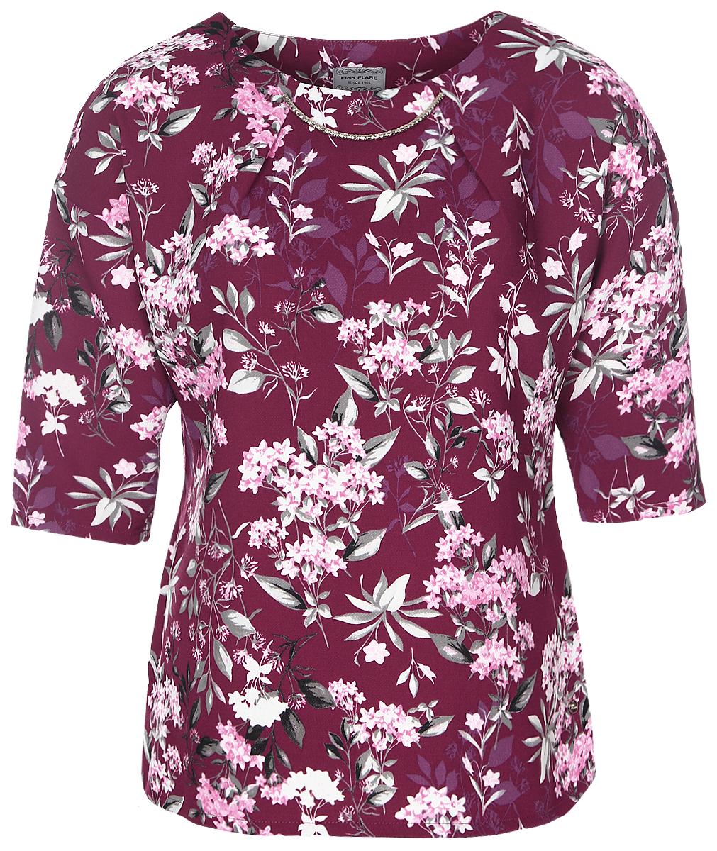 куртка женская finn flare цвет светло серый b17 12018 210 размер l 48 Блузка женская Finn Flare, цвет: бургундский. B17-11075_350. Размер L (48)