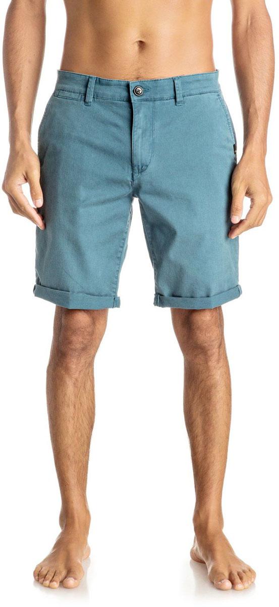 Шорты мужские Quiksilver, цвет: голубой. EQYWS03324-BQK0. Размер 33 (50/52)EQYWS03324-BQK0Шорты мужские Quiksilver изготовлены из качественной ткани. Модель длиной до колен застегивается на молнию и пуговицу. Изделие дополнено карманами.
