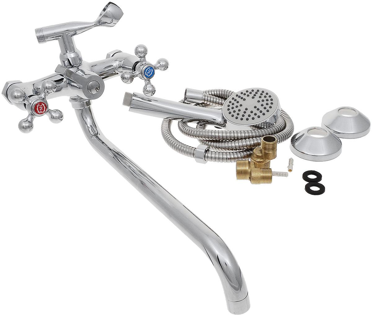 Смеситель для ванны и душа РМС, с длинным поворотным изливом, цвет: хром. SL67-140-1SL67-140-1Двуручковый смеситель для ванной комнаты РМС предназначен для смешивания холодной и горячей воды. Выполнен из высококачественной латуни повышенной прочности, устойчивой к коррозии. Кран-букса латунная с керамическими пластинами, угол поворота 180°. Оснащен длинным изливом. Переключение на душ - картриджное. Аэратор выполнен из пластика. В комплекте: эксцентрики, отражатели, металлический шланг для душа 1,5 м, лейка для душа.Максимальное давление: 10 бар.Испытательное давление: 16 бар.Рекомендуемое давление: 1-5 бар, при давлении выше 6 бар рекомендуется использовать регулятор давления.Максимально допустимая температура: +80°С.Рекомендуемая температура: +65°С.Размер присоединения к угловому вентилю для умывальника: гайка 1/2.Кран-букса керамическая: 1/2.Длина излива: 35 см.