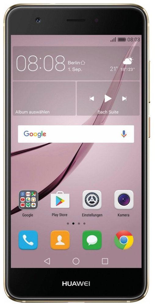 Huawei Nova LTE (CAN-L11), Gold51090XKYHuawei Nova — сочетание элегантности и современных решений. Утончённый и минималистичный дизайн.Создавая Huawei Nova, дизайнеры черпали вдохновение в природе и современной архитектуре, в тонких линиях и контурах, в игре света и тени. Изогнутые грани Huawei Nova дарят ощущение плавности и комфорта. Компактность корпуса достигается за счёт эргономичного расположения внутренних элементов.Задняя панель корпуса Huawei Nova выполнена из аэрокосмического магниево-алюминиевого сплава. Использование технологии пескоструйной обработки позволило создать приятную на ощупь текстурированную поверхность и придать корпусу глянцевый вид. Верхняя часть задней панели выполнена из контрастного глянцевого пластика. Закруглённые края и экран с технологией 2.5D позволяют смартфону идеально располагаться в руке.Основная 12 МП камера смартфона Huawei nova с размером пикселя 1,25 мкм, широкой диафрагмой F2.2 и специальным покрытием объектива, позволяет получить максимально чёткие и яркие снимки.В камере смартфона Huawei Nova используется уникальная комбинация двух технологий автофокусировки: фазовая (PDAF) и контрастная (CAF). Фазовый автофокус используется для быстрой фокусировки, в то время как контрастный сравнивает чёткость двух разных изображений, обеспечивая более высокую степень детализации. Сочетая два режима фокусировки, Huawei Nova позволяет делать высококачественные снимки практически мгновенно.Камера смартфона Huawei Nova позволяет снимать яркие видео в ультравысоком разрешении, фиксируя все мельчайшие детали. Даже при просмотре на большом экране, ваши видео будут выглядеть бесподобно.Ваши селфи станут идеальными благодаря фронтальной камере 8 МП и технологиям Beauty Skin 3.0 и Beauty Make-up 2.0.Сканер отпечатка пальца на задней панели позволяет делать селфи одним касанием.Новые функции режима украшения стали результатом сотрудничества Huawei с мировыми экспертами в области макияжа. Специально подобранные румяна и помада подчеркнут черты ли