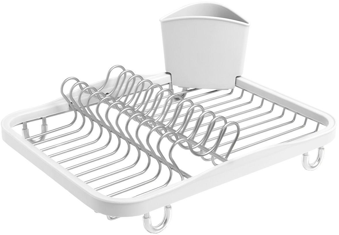 """Функциональная сушилка  Umbra """"Sinkin"""" в новой цветовой вариации. Предусмотрены отсеки для тарелок и чашек. Съемный пластиковый контейнер  удобен для сушки столовых приборов. Благодаря специальным ножкам вода стекает в раковину, не застаиваясь под посудой. Пластиковые  насадки на ножках оберегают раковину от царапин. Металлическая решетка и пластиковое обрамление легко очищаются от загрязнений.  Дизайн: Helen T. Miller"""