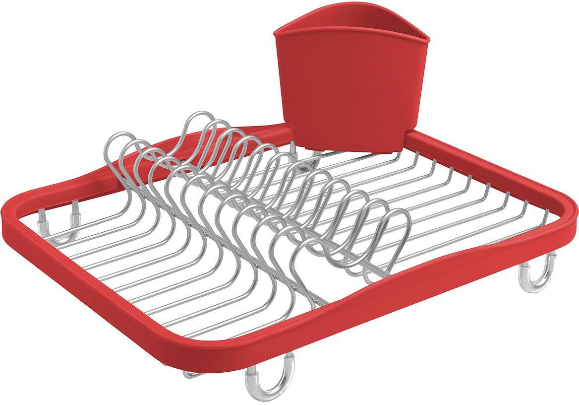 Сушилка для посуды Umbra Sinkin, цвет: красный330065-718Функциональная сушилка Umbra Sinkin в новой цветовой вариации. Предусмотрены отсеки для тарелок и чашек. Съемный пластиковый контейнер удобен для сушки столовых приборов. Благодаря специальным ножкам вода стекает в раковину, не застаиваясь под посудой. Пластиковые насадки на ножках оберегают раковину от царапин. Металлическая решетка и пластиковое обрамление легко очищаются от загрязнений.