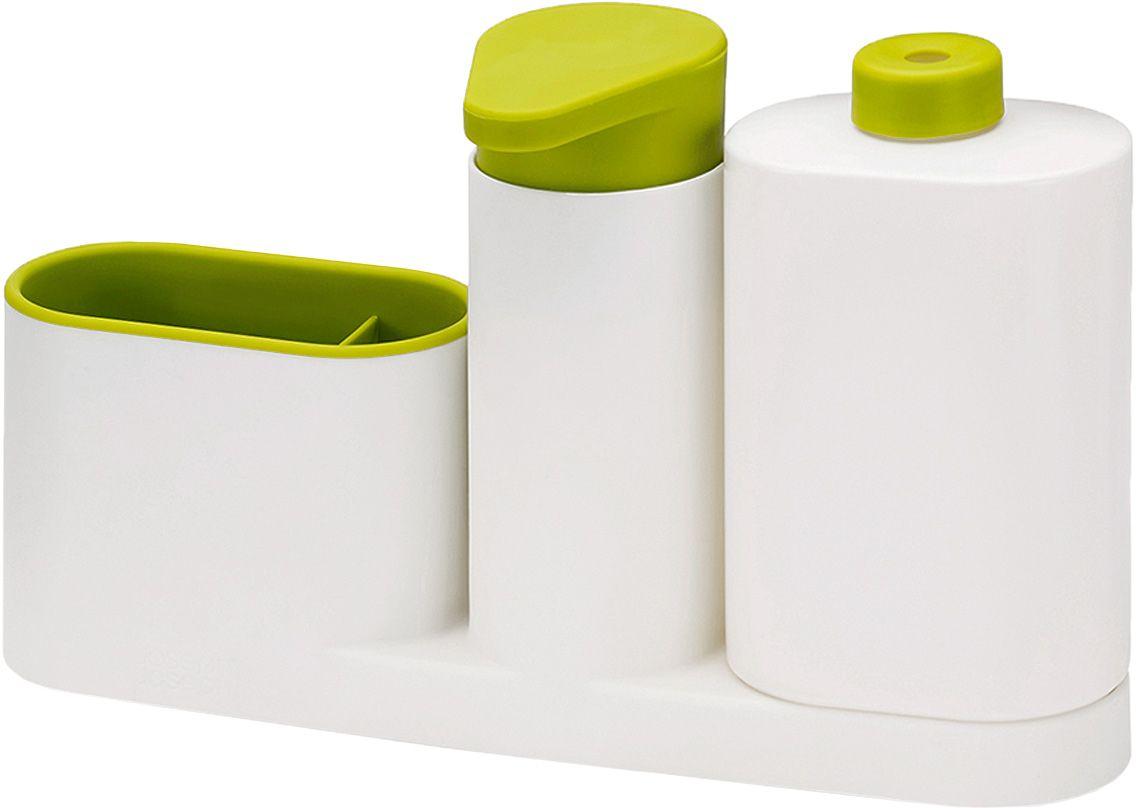 Органайзер для раковины Joseph Joseph SinkBase Plus, с дозатором для мыла и бутылочкой, цвет: белый, зеленый85082Органайзер для раковины Joseph Joseph SinkBase Plus- функциональный набор для организации пространства на кухонной раковине. Набор состоит из удобного дозатора для жидкого мыла, бутылочки для моющего средства и подставки с двумя отделениями для щеток и губок. Благодаря компактному дизайну органайзер может быть размещен даже на узкой стороне раковины. Разбирается для легкой чистки.Мыть рекомендуется только вручную.