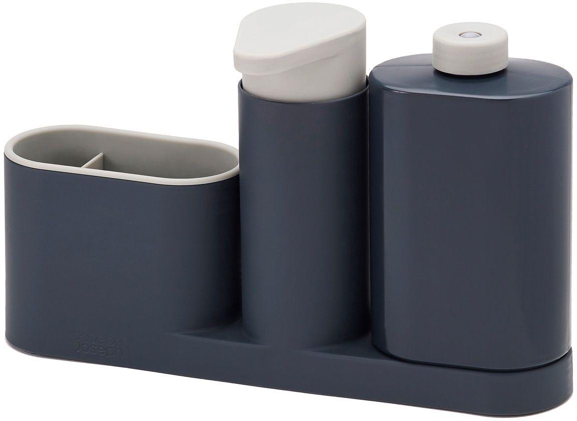 Органайзер для раковины Joseph Joseph SinkBase Plus, с дозатором для мыла и бутылочкой, цвет: серый85091Органайзер для раковины Joseph Joseph SinkBase Plus- функциональный набор для организации пространства на кухонной раковине. Набор состоит из удобного дозатора для жидкого мыла, бутылочки для моющего средства и подставки с двумя отделениями для щеток и губок. Благодаря компактному дизайну органайзер может быть размещен даже на узкой стороне раковины. Разбирается для легкой чистки.Мыть рекомендуется только вручную.