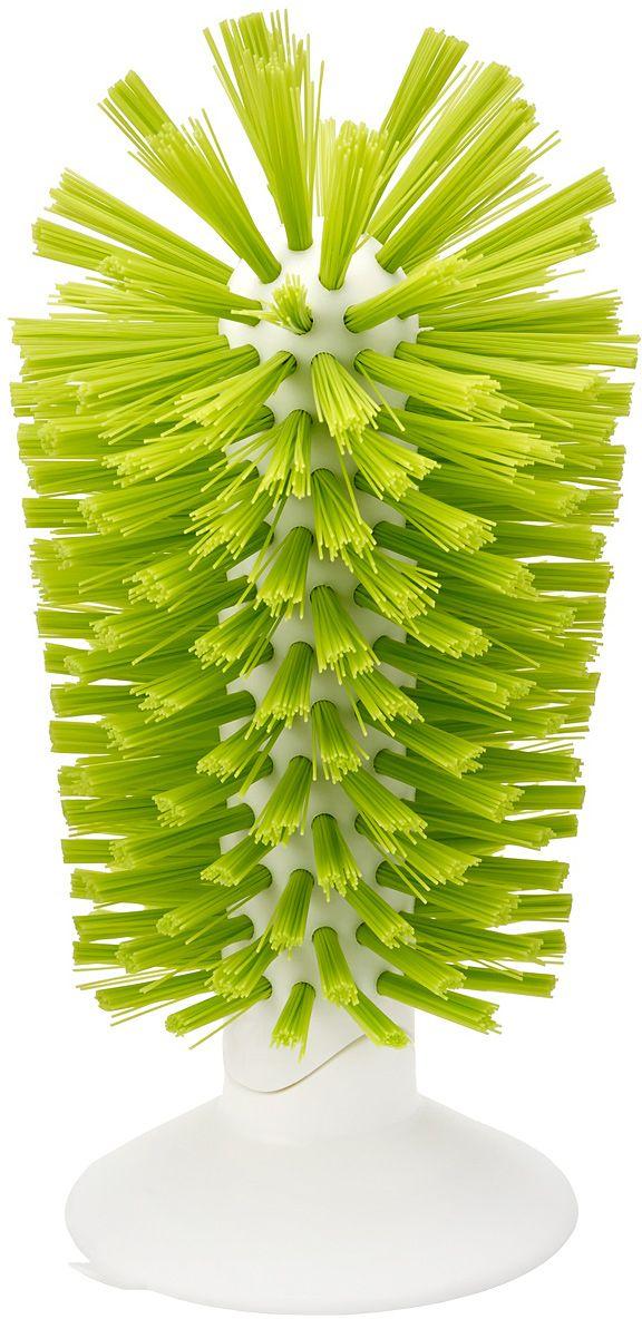 Щетка для стаканов Joseph Joseph Brush-up, на присоске, цвет: зеленый85103Щетка для стаканов Joseph Joseph Brush-up- эргономичная щетка для раковины, для быстрой очистки кружек, бокалов и стаканов.Благодаря изогнутой конструкции и прочной щетине эффективно справится с посудой глубиной до 14 см. Щётка крепится к ровной поверхности за счет усиленной присоски, благодаря чему позволяетэкономно использовать пространство вокруг раковины.Изделие покрыто щетиной средней жёсткости, которая не оставляет царапин, а удобная форма поможет вам очистить даже труднодоступные места.