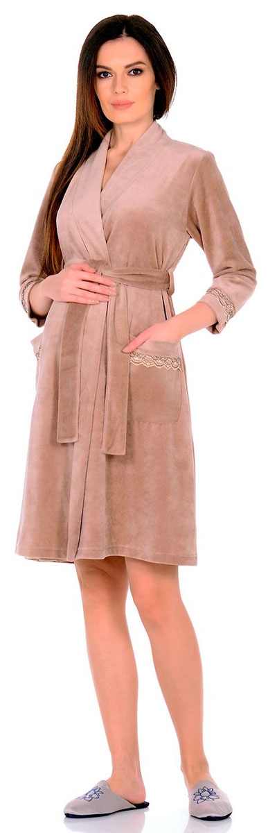 Халат для беременных и кормящих Nuova Vita, цвет: бежевый, кремовый. 301.1. Размер 46301.1Уютный халат для беременных и кормящих выполнен из качественного теплого трикотажного полотна. Халат на запах, длинный рукав.