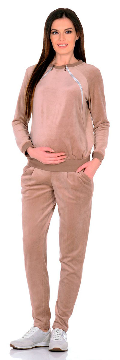 Костюм для беременных и кормящих: свитшот, брюки Nuova Vita, цвет: бежевый, кремовый. 406. Размер 42