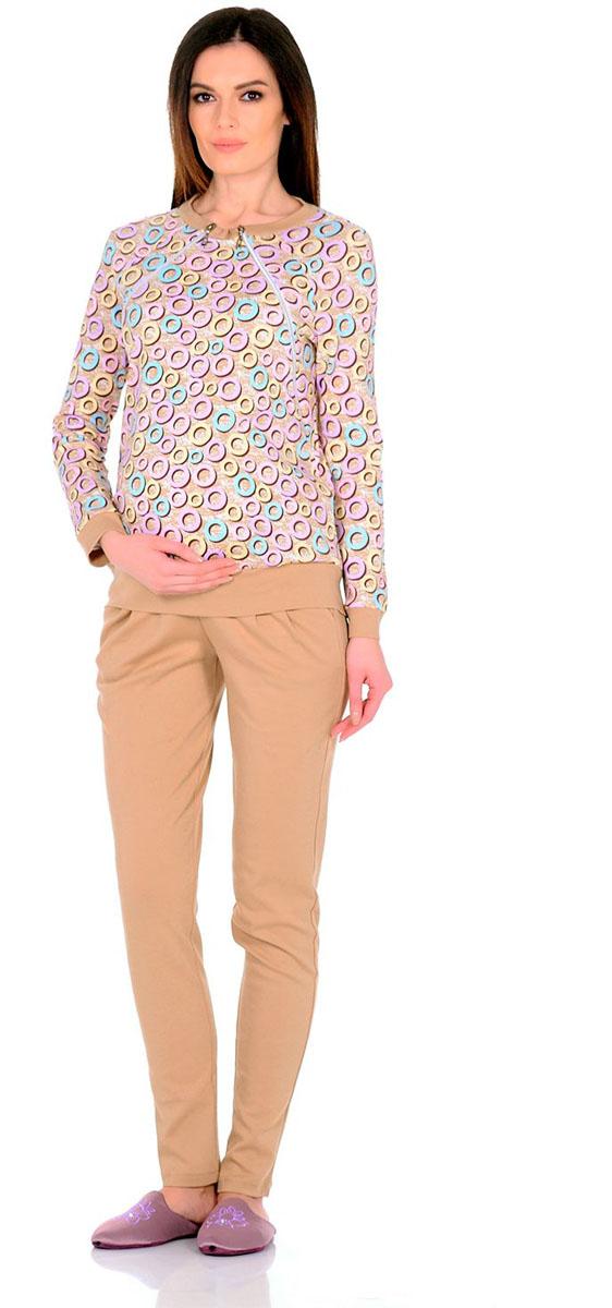 Костюм для беременных и кормящих: свитшот, брюки Nuova Vita Romantico, цвет: бежевый, кремовый, голубой. 407 M.. Размер 50 блузки nuova vita блуза 2 в 1 для беременных и для кормления