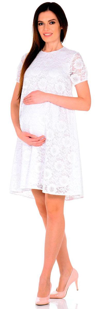 Платье для беременных Nuova Vita, цвет: белый. 2142.01 N.V.. Размер 462142.01 N.V.Платье Nuova Vita выполнено из вискозы, полиэстера и лайкры. Модель с круглым вырезом горловины застегивается на пуговицу.