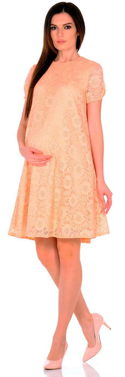 Платье для беременных Nuova Vita, цвет: персиковый. 2142.02 N.V.. Размер 502142.02 N.V.Платье Nuova Vita выполнено из вискозы, полиэстера и лайкры. Модель с круглым вырезом горловины застегивается на пуговицу.