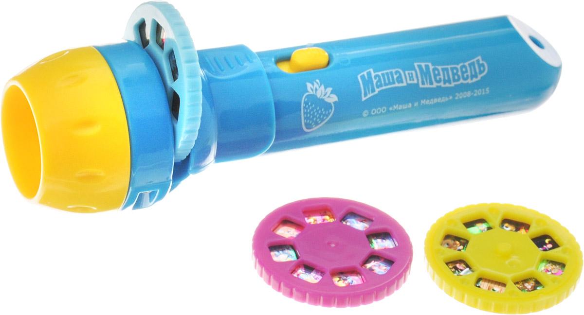 Фотон Мультфонарик с дисками Маша и Медведь цвет голубой батарейки фотон