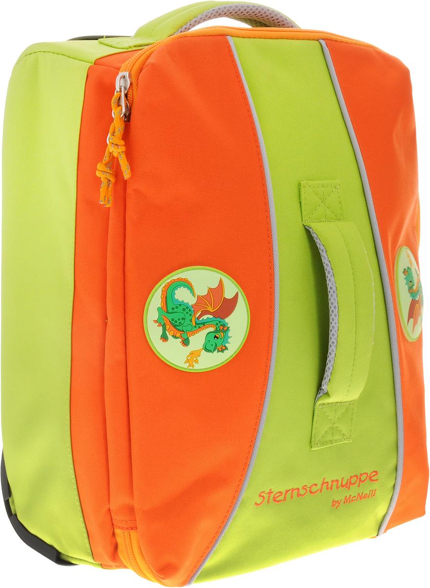 McNeill Чемодан детский Дракон7545777000Детский чемодан Mc Neill Дракон с выдвижной ручкой и на колесиках - это стильный и удобный чемодан, который придется по душе вашему малышу.Чемодан изготовлен из плотного материала оранжевого и светло-зеленого цветов и оформлен изображением дракончиков. Чемодан содержит одно вместительное отделение на застежке-молнии с двумя бегунками. Внутри отделения находятся два накладных открытых кармана для небольших принадлежностей и карман-сетка на молнии.Удобная выдвижная ручка и колесики облегчают транспортировку чемодана. Также изделие оснащено двумя текстильными ручками для переноски в руке.Пластиковые ножки защитят дно чемодана от загрязнений и продлят срок его службы.