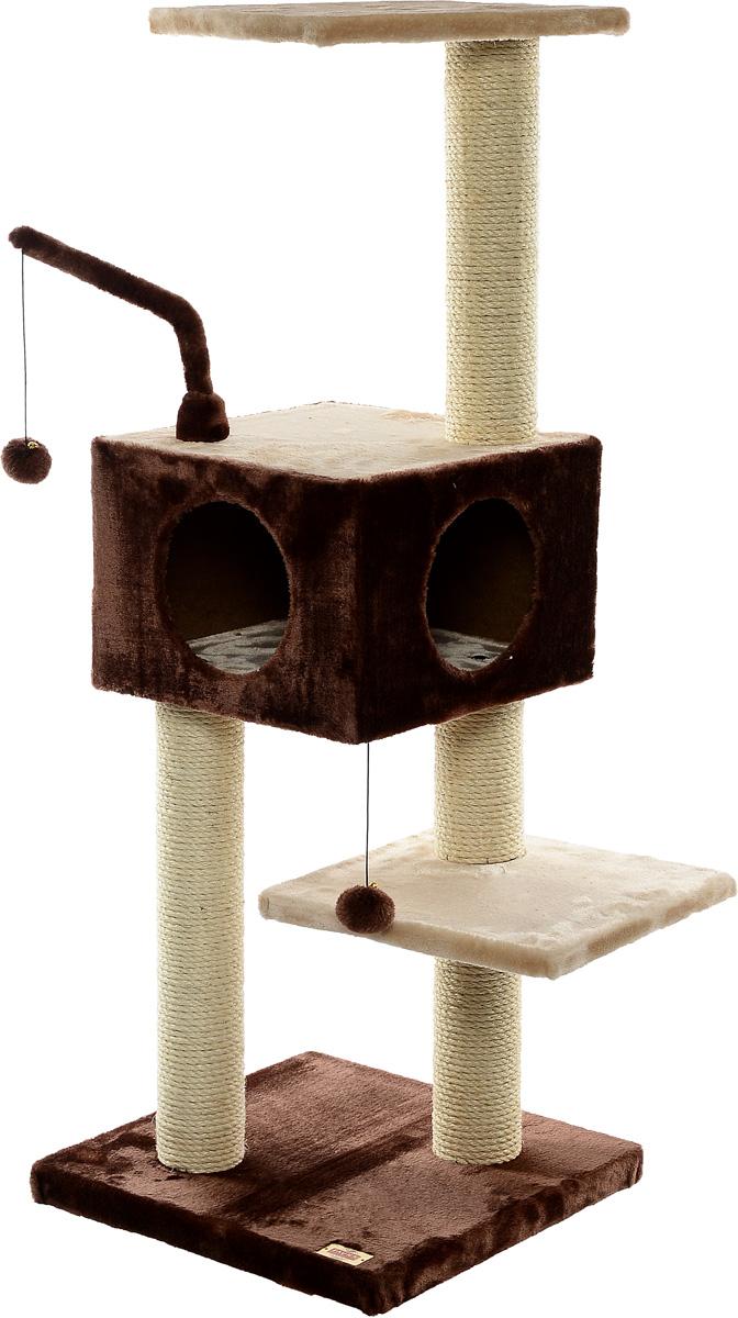 Игровая площадка для кошек Fauna Revizo, цвет: коричневый, бежевый, 45 см х 45 см х 121 см35417Многофункциональная игровая площадка Fauna Revizo обязательно понравится вашей кошке и станет ее излюбленным местом для отдыха и игр. Площадка изготовлена из ДВП и обтянута мягким плюшевым текстилем. Имеет несколько уровней: домик с двумя отверстиями и 3 плоские полки. Для игр предусмотрена подвесная игрушка на веревке, а чтобы поточить когти - несколько столбиков-когтеточек. Площадка сконструирована так, чтобы кошка подумала, что перед ней большое дерево, на которое можно вскарабкаться. В домик кошка может забраться, чтобы спрятаться и поспать, а полки станут прекрасным местом для развлечений и наблюдением за происходящим. Оригинальный дизайн прекрасно впишется в интерьер вашего дома. Игровые площадки Fauna созданы с любовью, вниманием и заботой о ваших кошках. Этим пушистым непоседам нравится играть и прыгать, забираться повыше, точить когти, прятаться в укромных местах и сладко спать в теплых уютных домиках. Компания Fauna International представляет новую серию современных игровых площадок для веселых игр и сладких снов!
