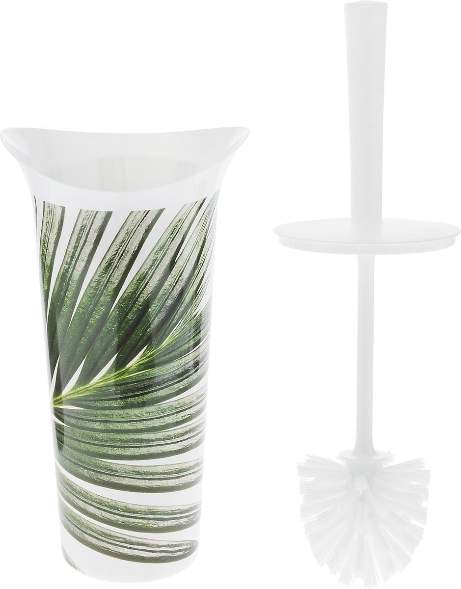 """Ершик для унитаза Idea """"Лотос деко. Пальма"""" выполнен из пластика с  жестким ворсом. Он хранится в специальной подставке, а также  оснащен крышкой, которая плотно прилегает к подставке. Ерш  отлично чистит поверхность, а грязь с него легко смывается  водой. Стильный дизайн изделия притягивает взгляд и прекрасно  подойдет к интерьеру туалетной комнаты. Длина ершика (с ручкой): 36 см.  Размер рабочей части ершика: 7 х 7 х 8 см. Размер подставки: 12,5 х 15 х 27 см."""