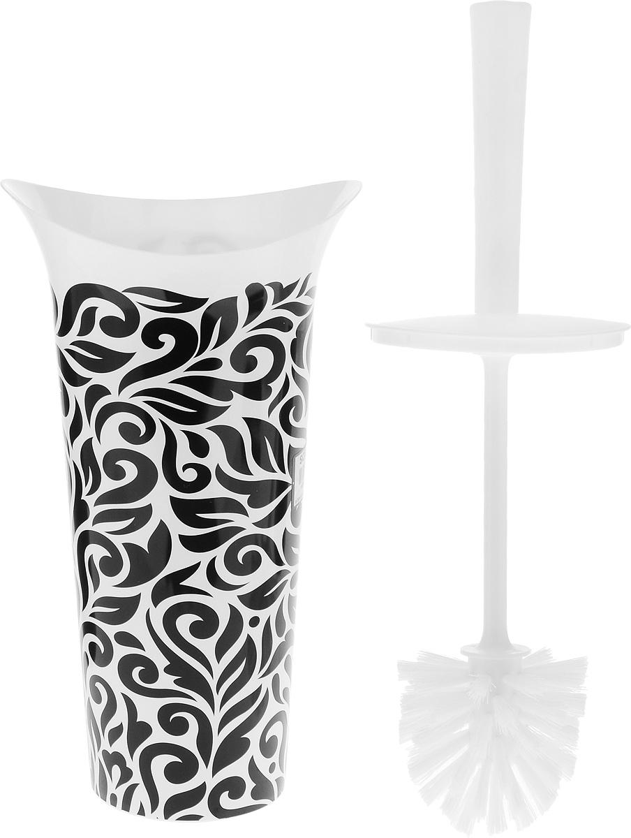 """Ершик для унитаза Idea """"Лотос деко. Барокко"""" выполнен из пластика с  жестким ворсом. Он хранится в специальной подставке, а также  оснащен крышкой, которая плотно прилегает к подставке. Ерш  отлично чистит поверхность, а грязь с него легко смывается  водой. Стильный дизайн изделия притягивает взгляд и прекрасно  подойдет к интерьеру туалетной комнаты. Длина ершика (с ручкой): 36 см.  Размер рабочей части ершика: 7 х 7 х 8 см. Размер подставки: 12,5 х 15 х 27 см."""