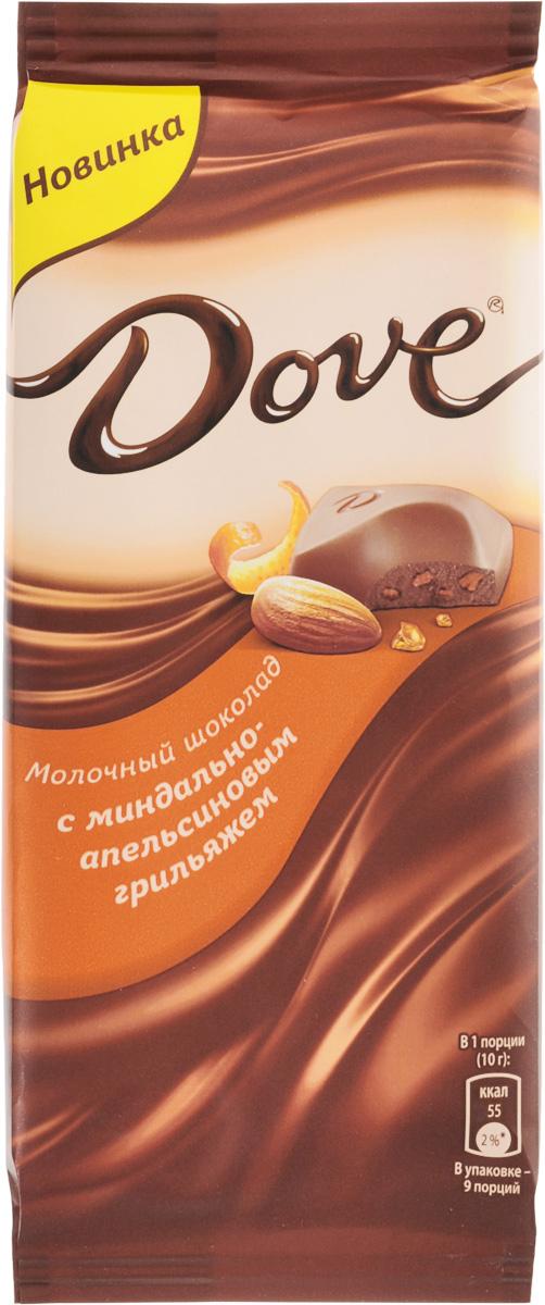 Dove молочный шоколад с миндально-апельсиновым грильяжем, 90 г каши nestle молочная мультизлаковая каша с яблоком и бананом с 6 мес 220 г