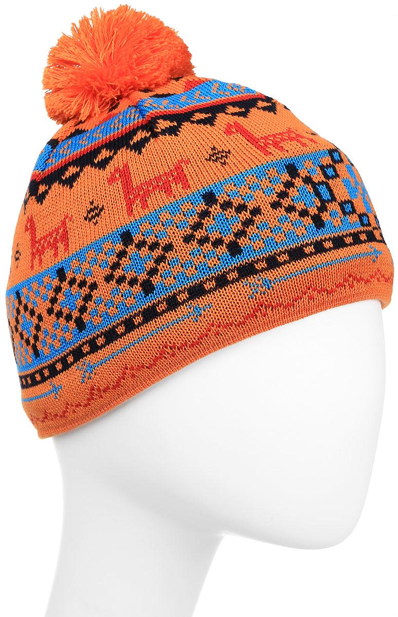 Шапка Kama Kamakadze, цвет: оранжевый, голубой. K53_103. Размер универсальныйK53_103Стильная шапка Kama Kamakadze дополнит ваш наряд и не позволит вам замерзнуть в холодное время года. Шапка выполнена из шерсти с добавлением акрила, что позволяет ей великолепно сохранять тепло и обеспечивает высокую эластичность и удобство посадки. Внутри мягкая и приятная на ощупь подкладка. Оформлена модель интересным принтом и помпоном на макушке.Такая шапка составит идеальный комплект с модной верхней одеждой.