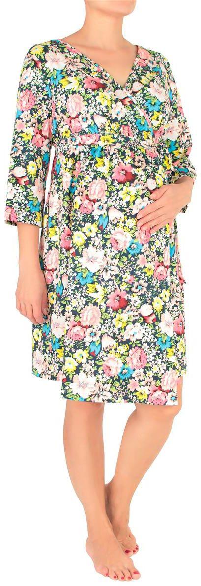 Халат для беременных Mammy Size, цвет: синий. 7001702171. Размер 467001702171Халат для беременных Mammy Size выполнен из качественного материала, что позволяет изделию не деформироваться при носке. Оформлена модель цветочными вкраплениями.