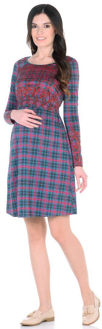 Платье для беременных Mammy Size, цвет: фуксия, синий. 6633522175. Размер 506633522175Изысканное платье для кормления. Узор-клетка, приятная цветовая гамма и удобство этого платья неоспоримы. Оттянув специальную резинку под бюстом, можно накормить незаметно малыша, не попортив одежды.