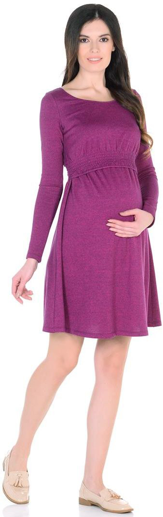 Платье для беременных Mammy Size, цвет: фуксия. 6630522175. Размер 446630522175Платье приталенного силуэта, с расклешенной юбкой, выше колен. Вырез горловины овальный. Низ лифа стянут на нитке- резинке. Рукава длинные.