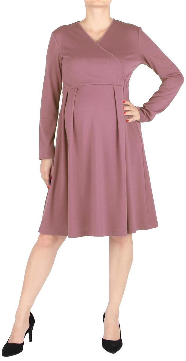 Платье для беременных Mammy Size, цвет: розовый. 5207522177. Размер 485207522177Элегантное платье для беременных, с расклешенной юбкой, длиной до колен. Рукава длинные. Линия талии завышена, на юбке мягкие складки. Лиф платья с асимметричным запахом. Спинка со средним швом, с потайной застежкой-молнией.