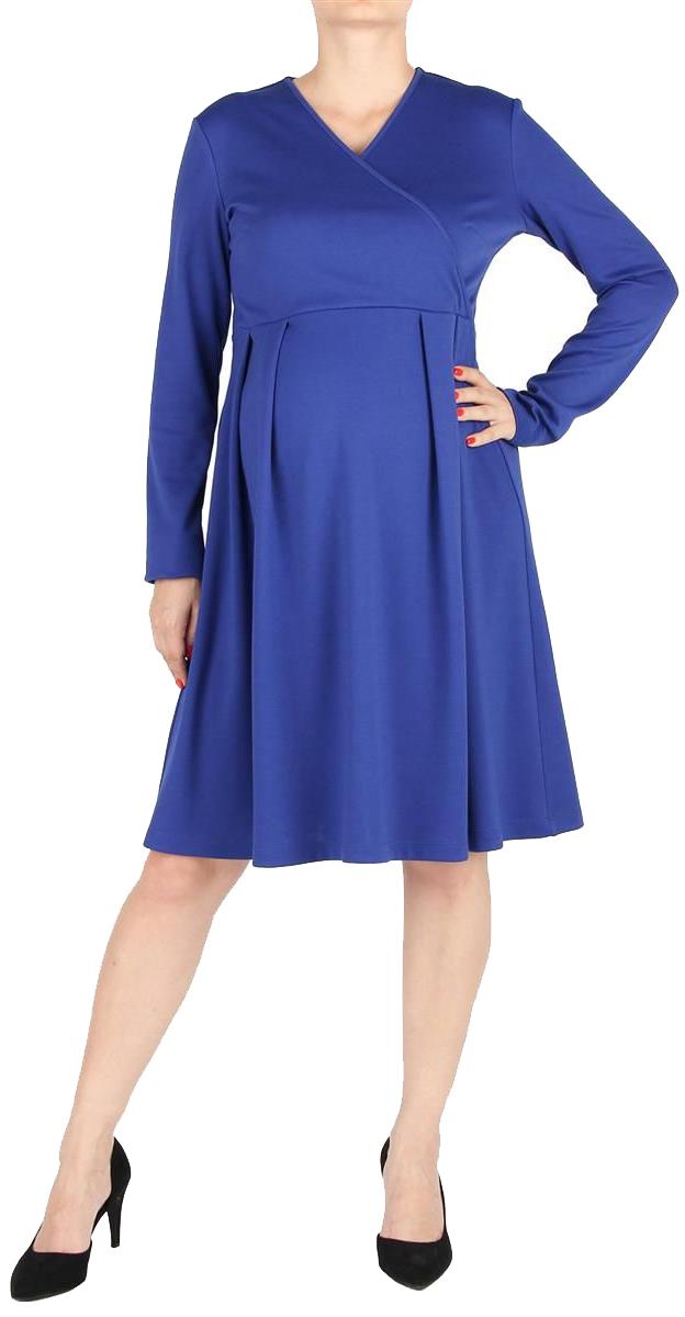 Платье для беременных Mammy Size, цвет: синий. 5207522173. Размер 505207522173Элегантное платье для беременных, с расклешенной юбкой, длиной до колен. Рукава длинные. Линия талии завышена, на юбке мягкие складки. Лиф платья с асимметричным запахом. Спинка со средним швом, с потайной застежкой-молнией.