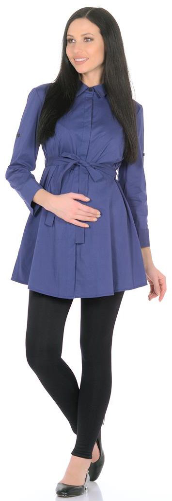 Блузка для беременных Mammy Size, цвет: синий. 3068302173. Размер 443068302173Утонченная блузка-рубашка свободного кроя с пояском. Прекрасно подойдет для офиса.