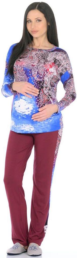 Костюм домашний для беременных Mammy Size: лонгслив, брюки, цвет: сиреневый, голубой. 168692175. Размер 42