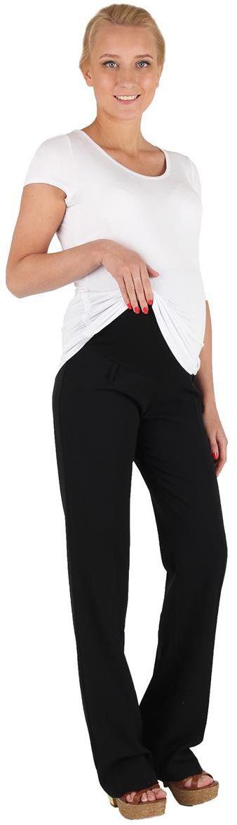 Брюки для беременных Mammy Size, цвет: черный. 1050421719. Размер 501050421719Брюки для беременных Mammy Size выполнены из вискозы, полиэстера и спандекса. Свободные брюки для офиса, прекрасно сидят на фигуре, классика.