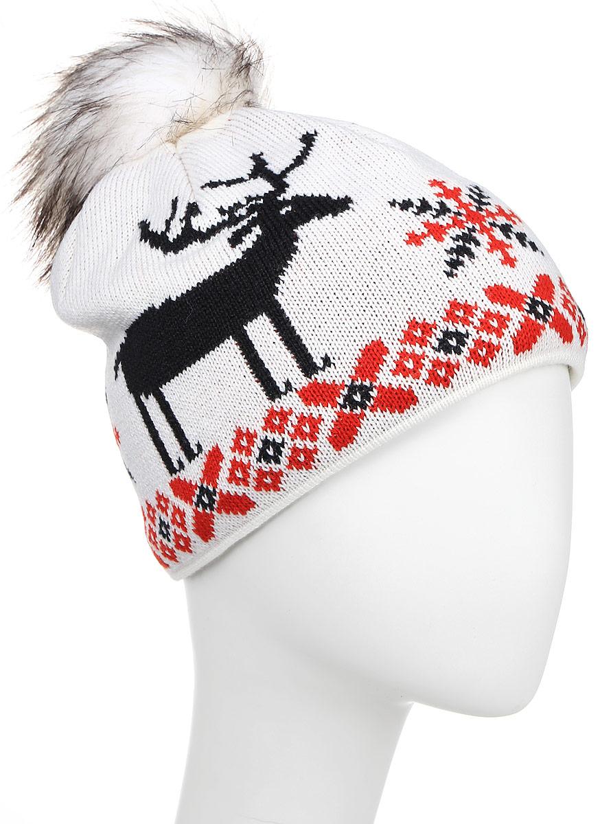 Шапка Kama Fashion Beanies, цвет: белый. A51_101. Размер универсальныйA51_101Шапка из смесовой шерсти с норвежским узором и оленем. Модель дополнена помпоном.